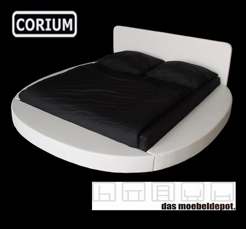 modernes lederbett polsterbett bett rund pu leder 180x200 wei ebay. Black Bedroom Furniture Sets. Home Design Ideas