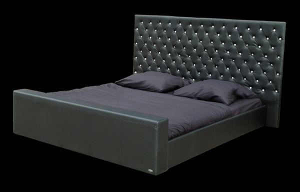 lederbett polsterbett bett 180x200 schwarz kristall ebay. Black Bedroom Furniture Sets. Home Design Ideas