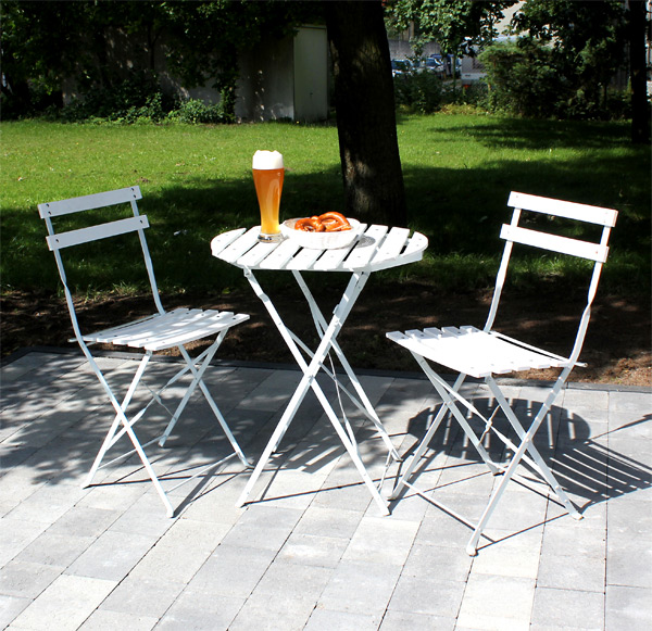bistro set balkonset sitzgruppe tisch 2 st hle wei gartenm bel garten metall ebay. Black Bedroom Furniture Sets. Home Design Ideas
