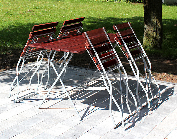 biergarten garnitur sitzgruppe tisch 4 st hle gartenm bel garten holz metall ebay. Black Bedroom Furniture Sets. Home Design Ideas