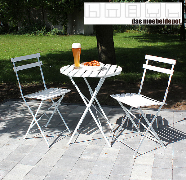 edles bistro set balkonset sitzgruppe tisch 2 st hle wei klappbar holz metall ebay. Black Bedroom Furniture Sets. Home Design Ideas