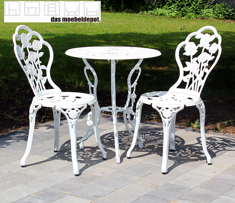 tisch 2 st hle gusseisen wei seidenglanz bistro set 3tlg garten sitzgarnitur ebay. Black Bedroom Furniture Sets. Home Design Ideas
