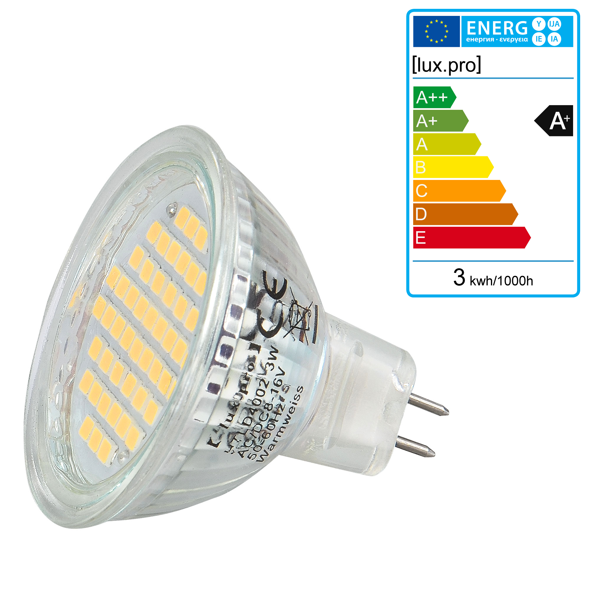 10x-lux-pro-LED-SPOT-MR16-GU5-3-warmweiss-3Watt-8-24V-AC-DC-3000K-54-SMD-s-Lampe