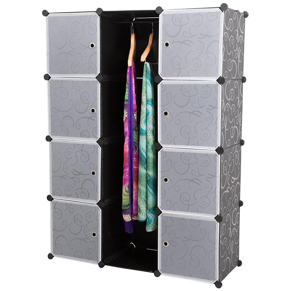 neu haus system regal schrank w sche garderobe schwarz wei steck b ro b cher ebay. Black Bedroom Furniture Sets. Home Design Ideas