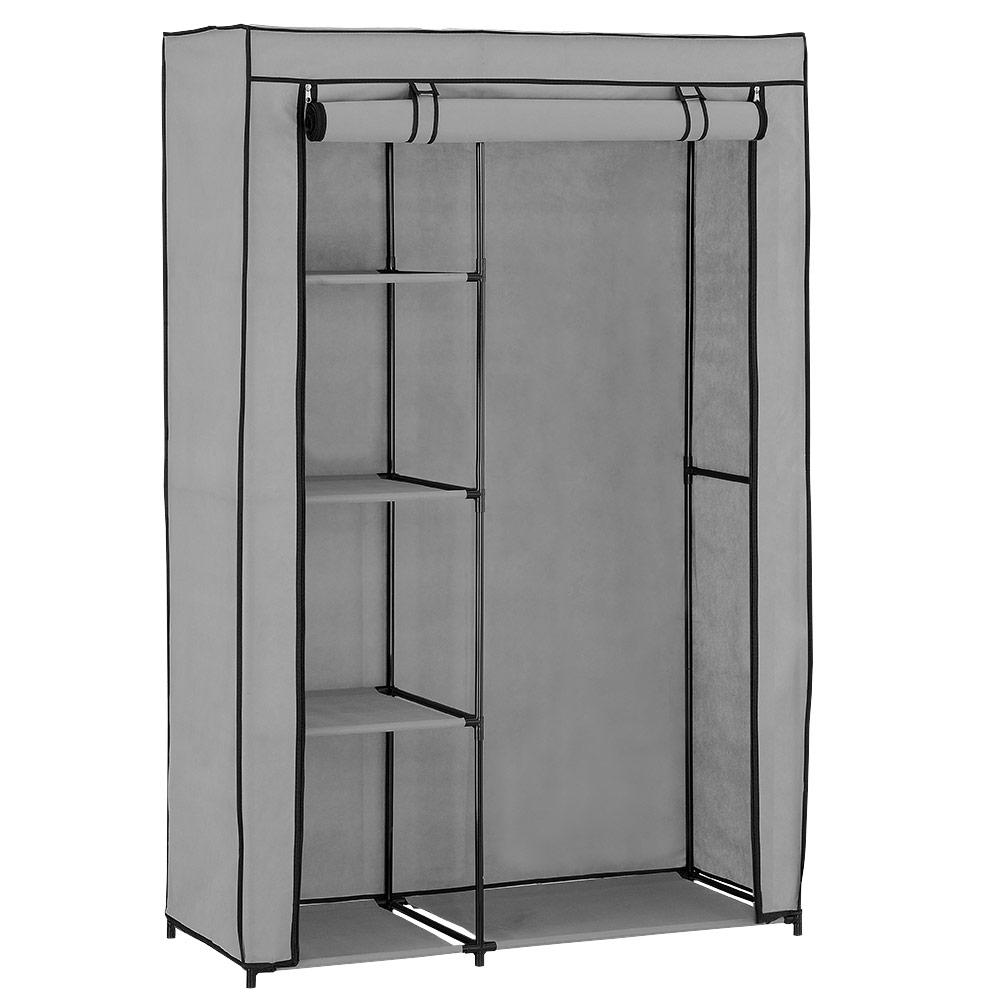 neu haus kleiderschrank stoff falt schrank wohnzimmer garderobe schwarz wei. Black Bedroom Furniture Sets. Home Design Ideas