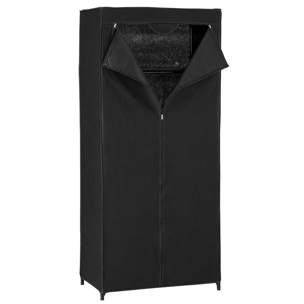 neu haus kleiderschrank stoff falt schrank wohnzimmer garderobe schwarz wei ebay. Black Bedroom Furniture Sets. Home Design Ideas