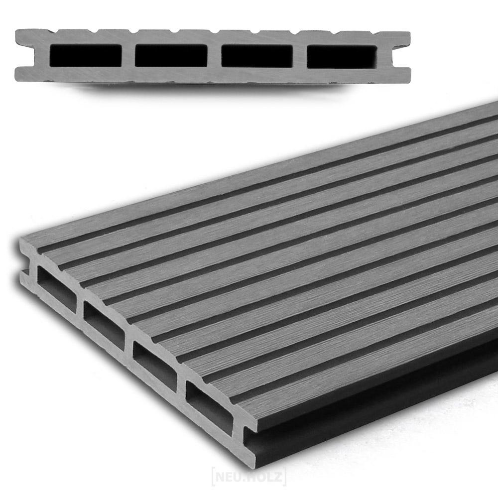 neuholz wpc holzdielen 1 65m terrassendielen grau. Black Bedroom Furniture Sets. Home Design Ideas